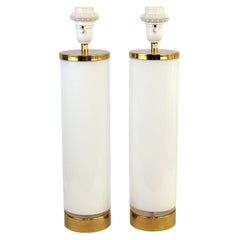 Pair of Swedish Milky Glass Table Lamps, by Bergboms, circa 1960s