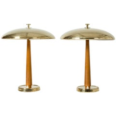 Pair of Swedish Modern Brass and Wood Table Lamps from Nordiska Kompaniet