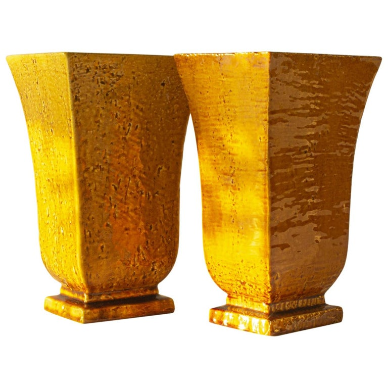 """Pair of Swedish Modern """"Chamotte"""" Vases by Gunnar Nylund for Rörstrand For Sale"""