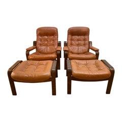 Pair of Swedish Modern Ergonomic Chairs with Matching Ottomen