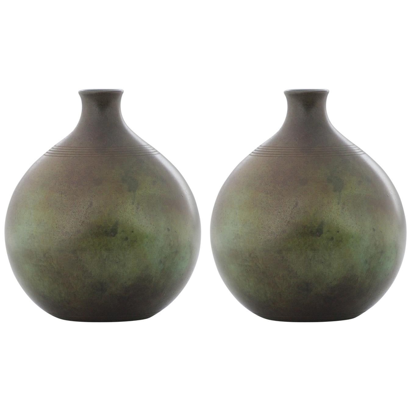 Pair of Swedish Modern GAB Patinated Bronze Vases, Stockholm, 1930s
