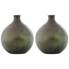 Pair of Swedish Modern GAB Patinated Bronze Vases, Stockholm, 1930s