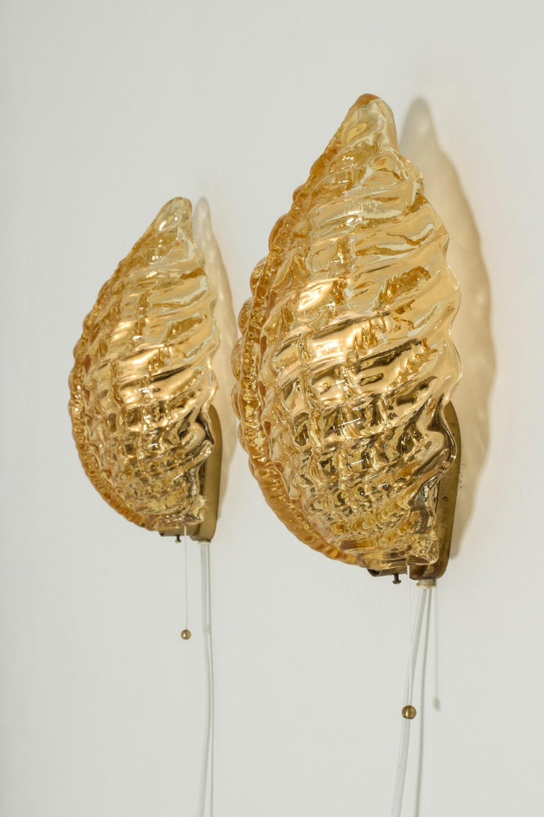 Pair of Swedish Modern Glass Wall Lamps from Orrefors For Sale 1