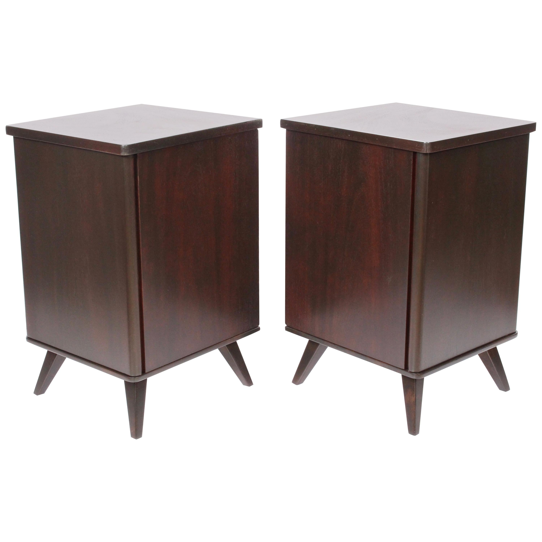 Pair of Swedish Moderne Dark Walnut Bedside Cabinets, 1940s