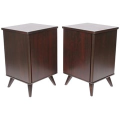 Pair of Swedish Moderne Dark Walnut Bedside Cabinets, 1940s