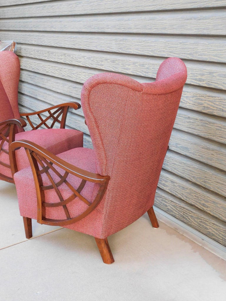 Pair of Swedish Modernist Winged Back Spider Web Armchairs, circa 1940 In Excellent Condition For Sale In Los Angeles, CA