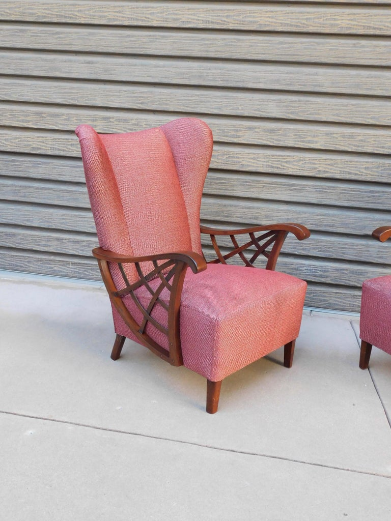 Mid-20th Century Pair of Swedish Modernist Winged Back Spider Web Armchairs, circa 1940 For Sale