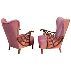 Pair of Swedish Modernist Winged Back Spider Web Armchairs, circa 1940