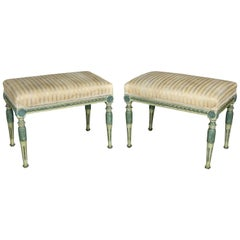 Pair of Swedish Neoclassic Painted Benches