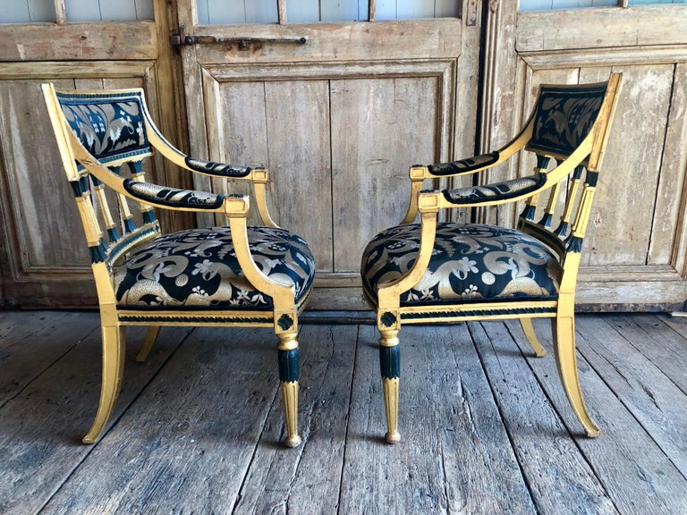 Pair of Swedish Neoclassical Armchairs For Sale 5
