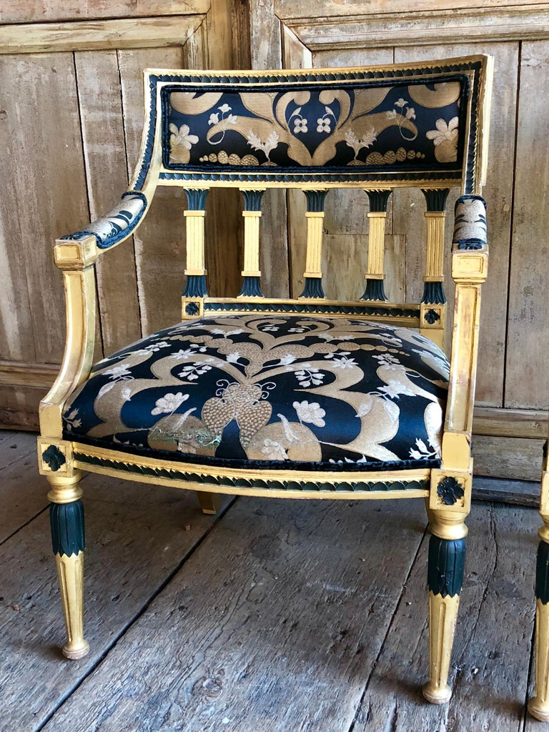 Giltwood Pair of Swedish Neoclassical Armchairs For Sale