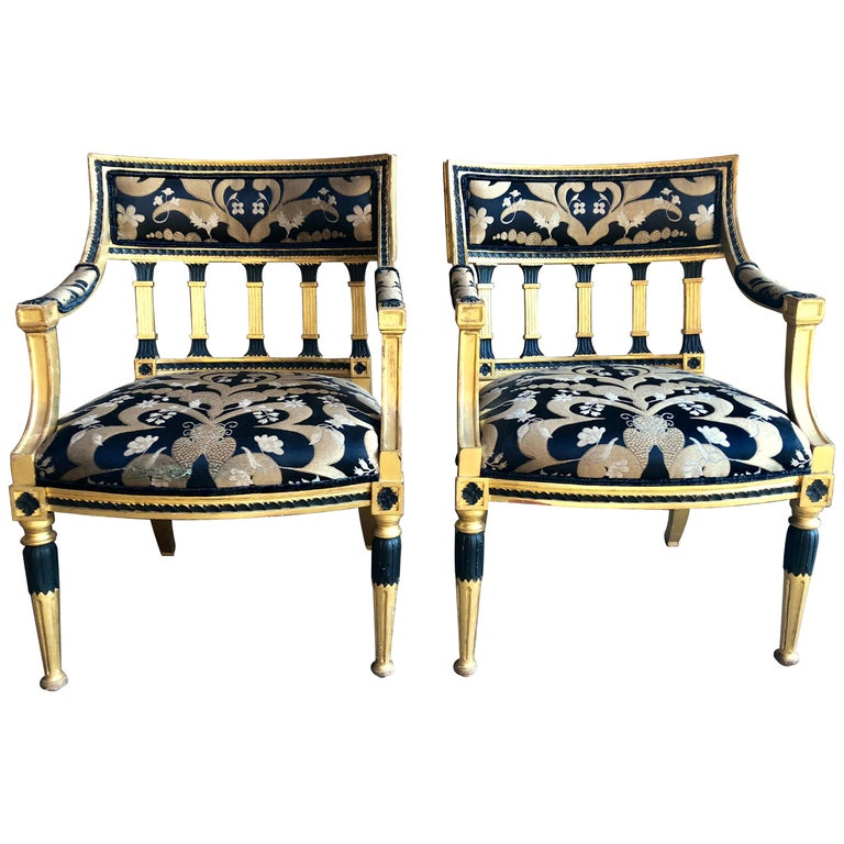 Pair of Swedish Neoclassical Armchairs For Sale