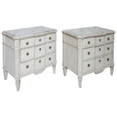 Pair of Swedish Neoclassical Breakfront Commodes