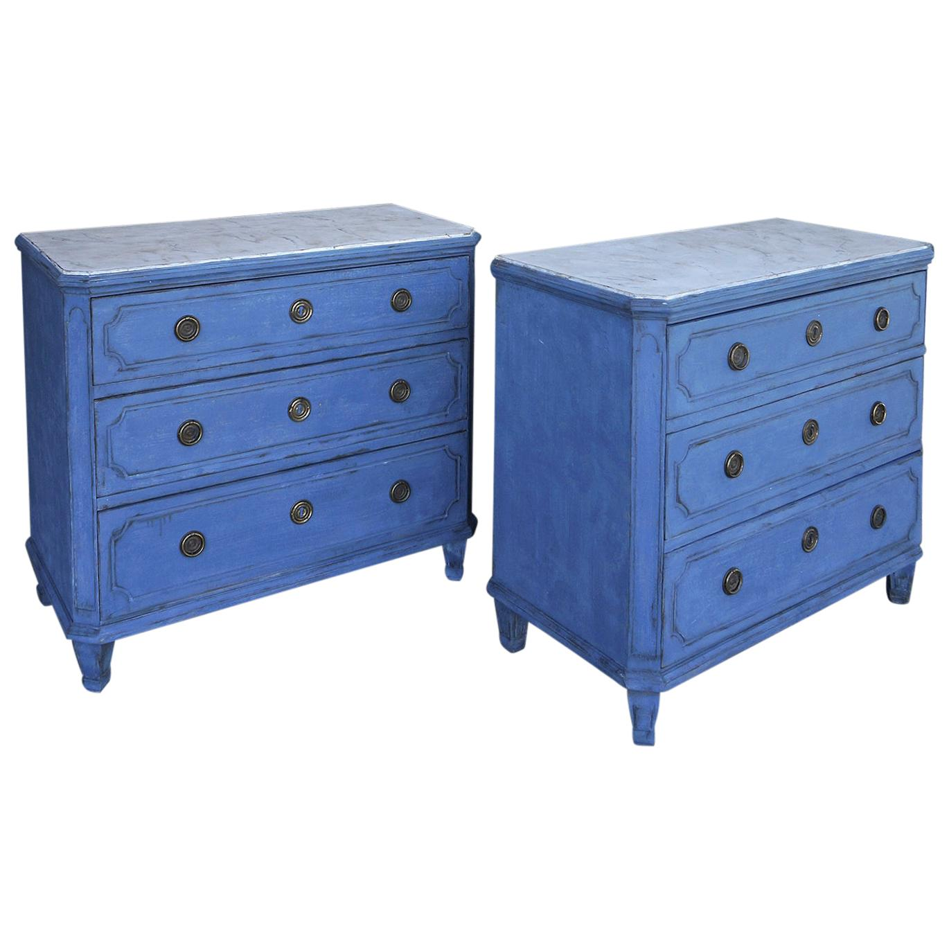 Pair of Swedish Neoclassical Chests in Blue Paint