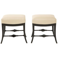 Pair of Swedish Neoclassical Ebonized and Upholstered Stools, circa 1830s