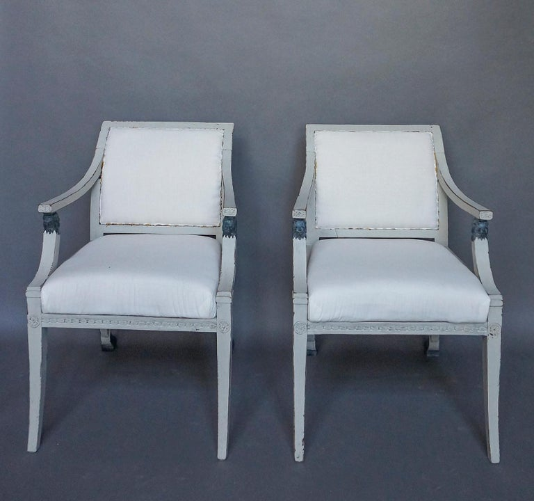 Carved Pair of Swedish Neoclassical Style Armchairs with Lion Detail For Sale