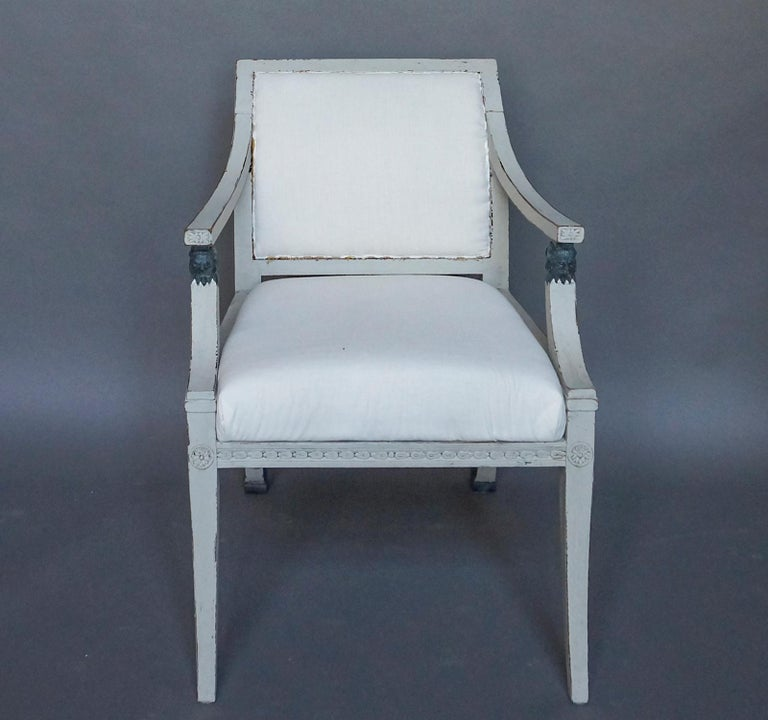 Pair of Swedish Neoclassical Style Armchairs with Lion Detail In Good Condition For Sale In Sheffield, MA