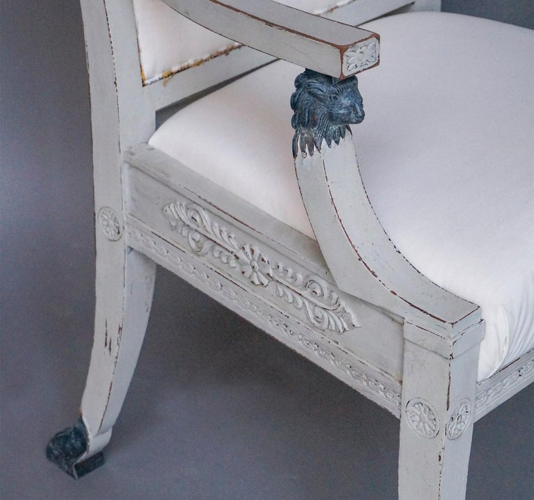 Pair of Swedish Neoclassical Style Armchairs with Lion Detail For Sale 1