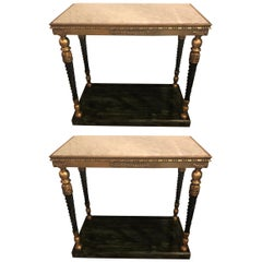 Pair of Swedish Neoclassical Style Marble-Top Consoles