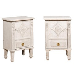 Pair of Swedish Neoclassical Style Painted Nightstand Cabinets with Single Door