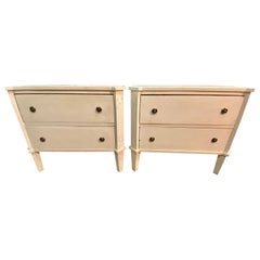 Pair of Swedish Nightstands, End Tables or Side Tables, Having Two Drawers Each