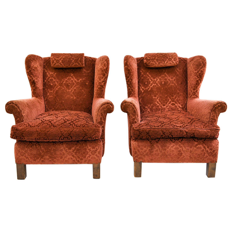 Pair of Swedish Nordiska Kompaniet Wingback Chairs, circa 1940s