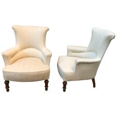 Pair of Swedish Oskarian Wingback Lounge Chairs