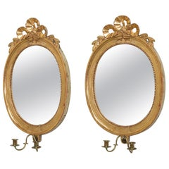 Pair of Swedish Oval Giltwood Mirrors by Lago Lunden circa 1780, Stamped