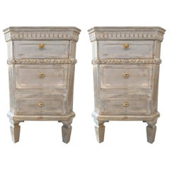 Pair of Swedish Paint Decorated End Tables or Nightstands