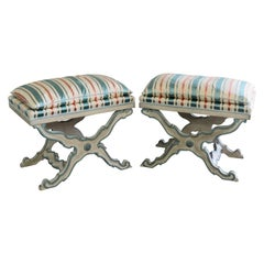 Pair of Swedish Paint Decorated X Benches