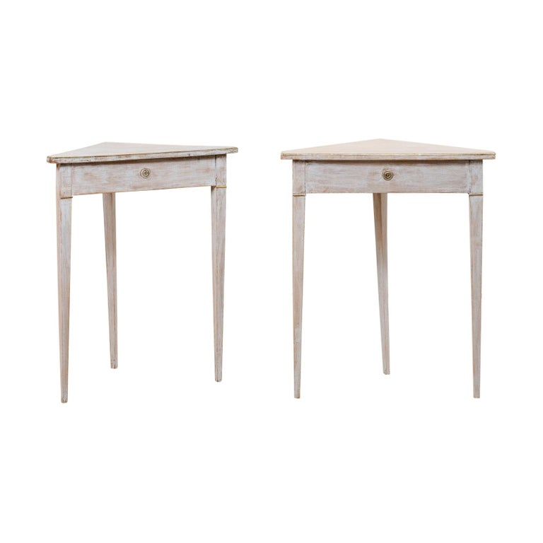 Pair of Swedish Painted Wooden Corner Tables, 19th Century For Sale
