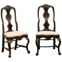 Pair of Swedish Period Rococo Carved-Wood Side Chairs, 18th Century