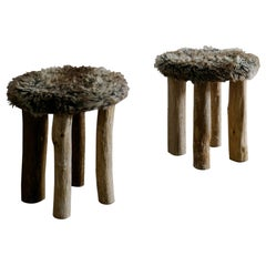 Pair of Swedish Primitive Stools with Fur