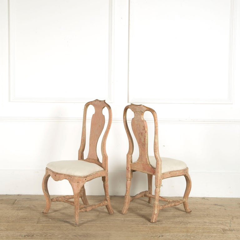 Painted Pair of Swedish Rococo Chairs For Sale