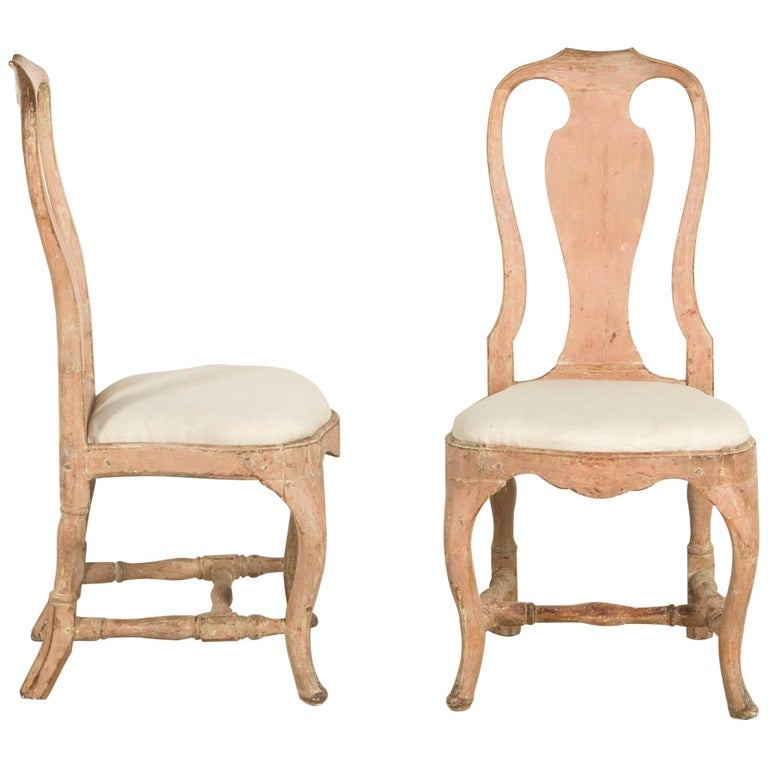 Pair of Swedish Rococo Chairs For Sale