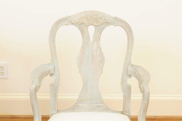Pair of Swedish Rococo Style 1890s Painted Wood Armchairs with New Upholstery For Sale 5