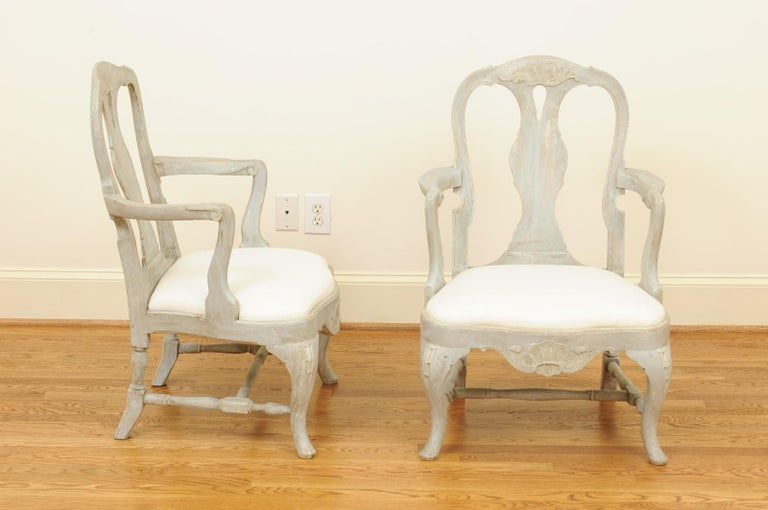 Pair of Swedish Rococo Style 1890s Painted Wood Armchairs with New Upholstery For Sale 6