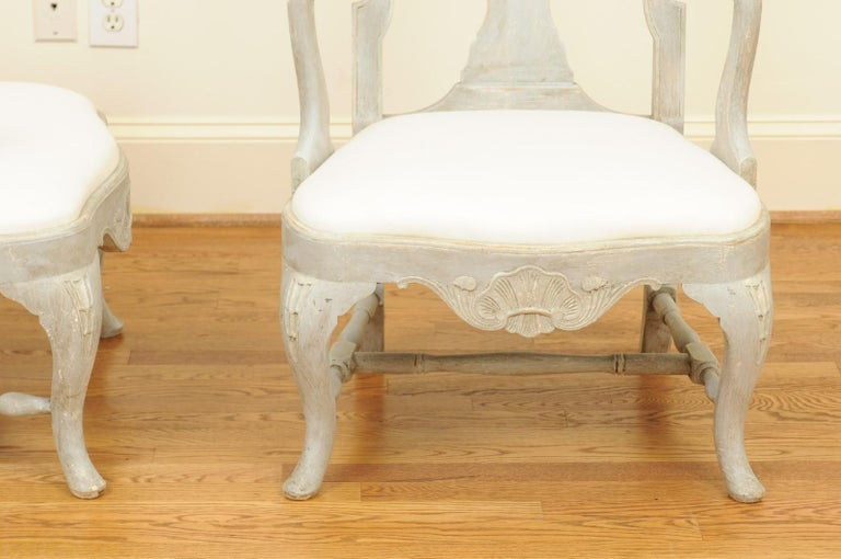Pair of Swedish Rococo Style 1890s Painted Wood Armchairs with New Upholstery For Sale 7