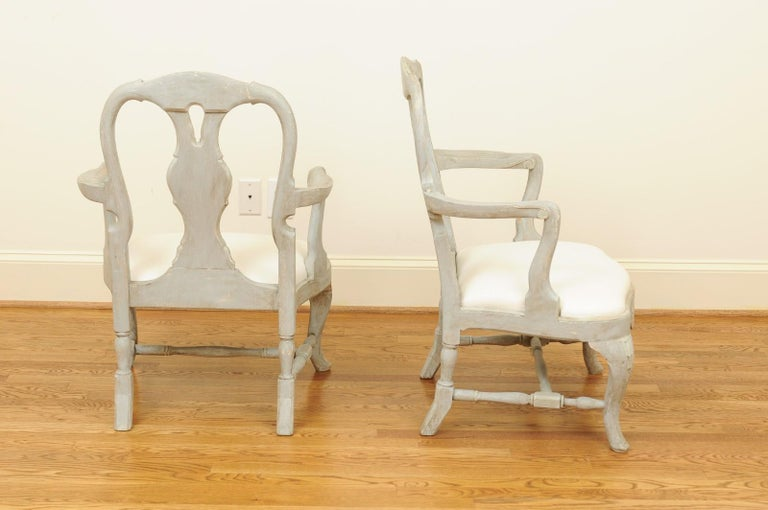 Pair of Swedish Rococo Style 1890s Painted Wood Armchairs with New Upholstery For Sale 8