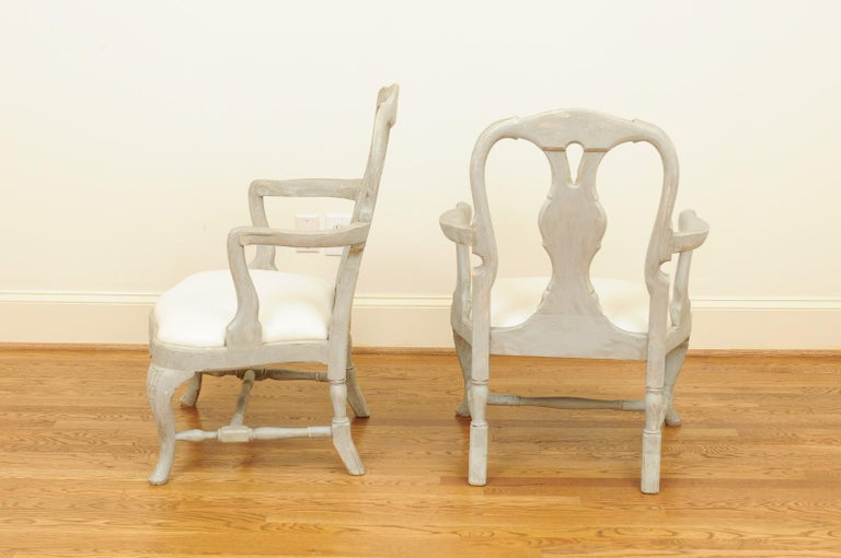 Pair of Swedish Rococo Style 1890s Painted Wood Armchairs with New Upholstery For Sale 9