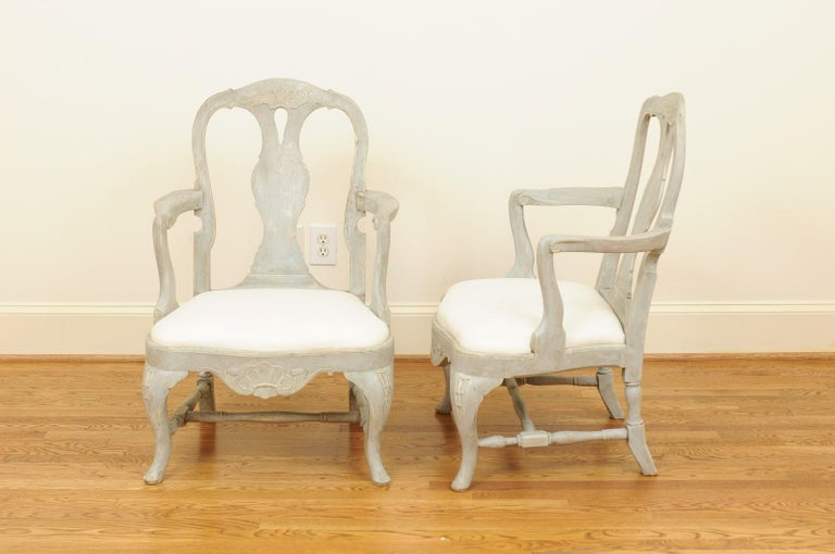 Pair of Swedish Rococo Style 1890s Painted Wood Armchairs with New Upholstery For Sale 10