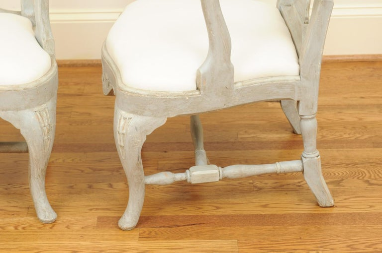 Pair of Swedish Rococo Style 1890s Painted Wood Armchairs with New Upholstery For Sale 11