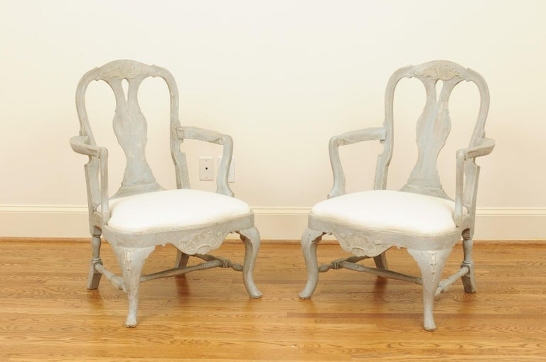 Pair of Swedish Rococo Style 1890s Painted Wood Armchairs with New Upholstery For Sale 12
