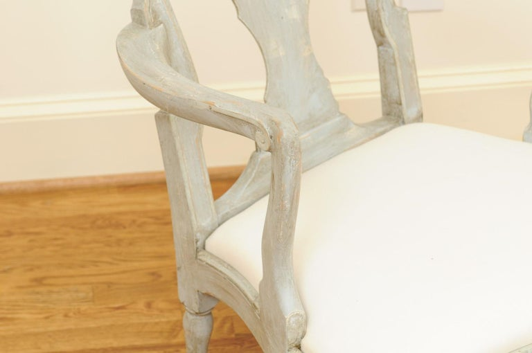 Pair of Swedish Rococo Style 1890s Painted Wood Armchairs with New Upholstery For Sale 13