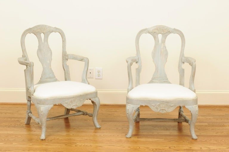Carved Pair of Swedish Rococo Style 1890s Painted Wood Armchairs with New Upholstery For Sale