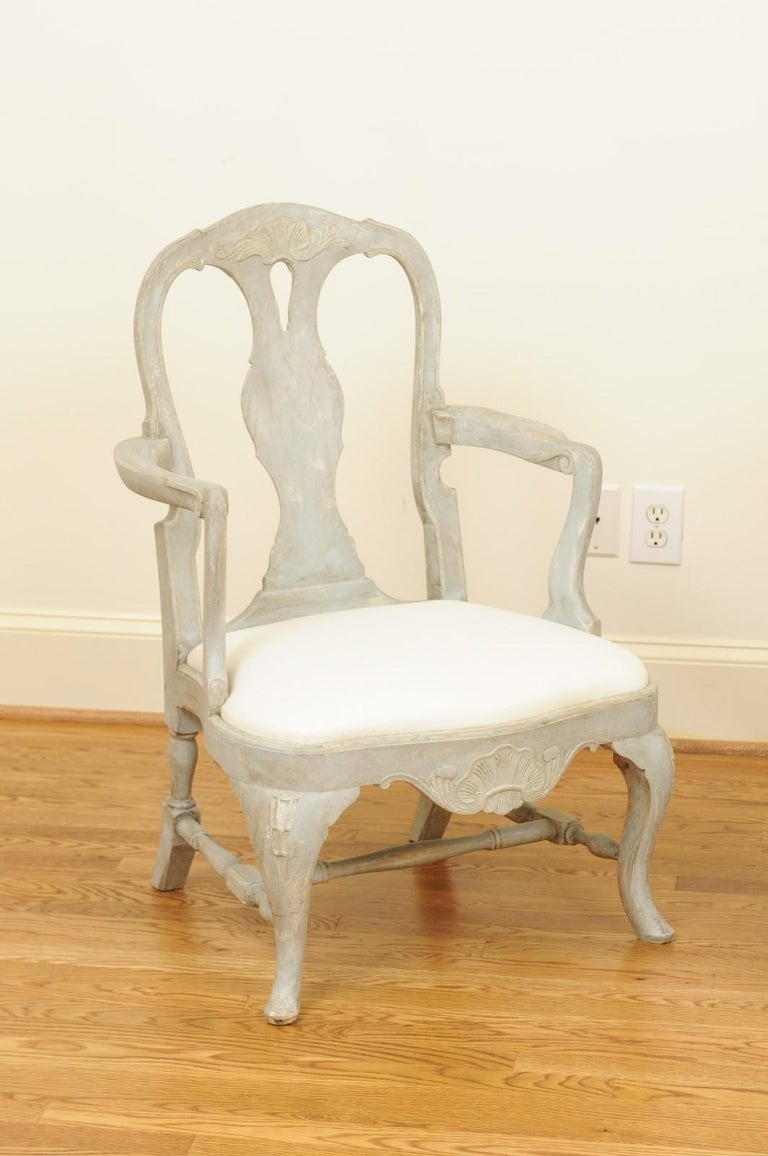 Pair of Swedish Rococo Style 1890s Painted Wood Armchairs with New Upholstery In Good Condition For Sale In Atlanta, GA