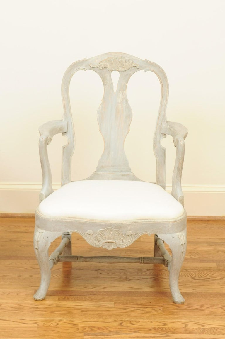 19th Century Pair of Swedish Rococo Style 1890s Painted Wood Armchairs with New Upholstery For Sale