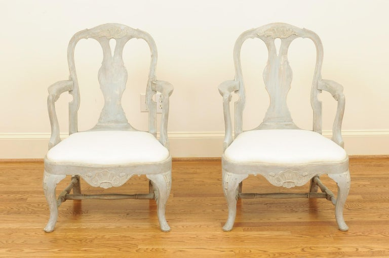 Pair of Swedish Rococo Style 1890s Painted Wood Armchairs with New Upholstery For Sale 1