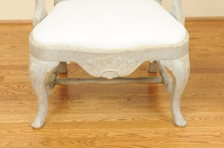 Pair of Swedish Rococo Style 1890s Painted Wood Armchairs with New Upholstery For Sale 2