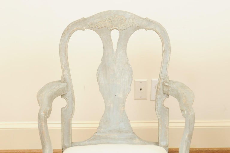 Pair of Swedish Rococo Style 1890s Painted Wood Armchairs with New Upholstery For Sale 3